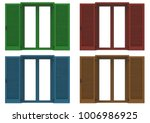 four window open with colored... | Shutterstock . vector #1006986925
