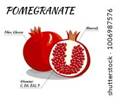 whole  and half pomegranate... | Shutterstock .eps vector #1006987576