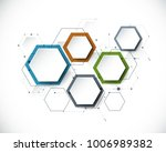 vector molecule with 3d paper... | Shutterstock .eps vector #1006989382
