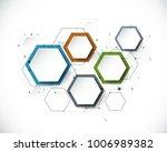 vector molecule with 3d paper... | Shutterstock .eps vector #1006989382