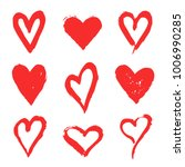 hand drawn hearts. set of red... | Shutterstock .eps vector #1006990285