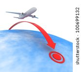 Airplane flying to the point of destination - stock photo