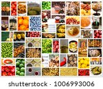 mosaic mix collage of food... | Shutterstock . vector #1006993006