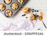 freshly baked blueberry muffins ... | Shutterstock . vector #1006995166