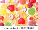 colorful jelly candies... | Shutterstock . vector #100700902