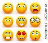 yellow 3d emoticons vector set. ... | Shutterstock .eps vector #1007010412