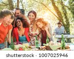 group of young people having... | Shutterstock . vector #1007025946