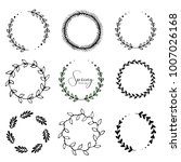 vector set of floral round... | Shutterstock .eps vector #1007026168