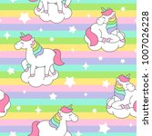 cute unicorn seamless pattern... | Shutterstock .eps vector #1007026228