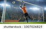 soccer goalkeeper in action on... | Shutterstock . vector #1007026825