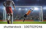 soccer goalkeeper in action on... | Shutterstock . vector #1007029246