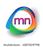 Letter Mn Logo With Colorful...