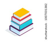 Isometric Books Isolated On...
