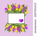 spring text with tulip flower.... | Shutterstock .eps vector #1007031415