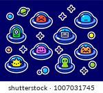 ufo aliens stickers collection  ... | Shutterstock .eps vector #1007031745