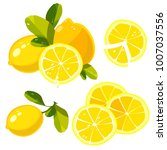 lemon with leaves and drops of... | Shutterstock .eps vector #1007037556