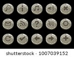 cartoon circle old stone buttons | Shutterstock .eps vector #1007039152