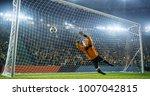 soccer goalkeeper in action on... | Shutterstock . vector #1007042815