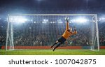 soccer goalkeeper in action on... | Shutterstock . vector #1007042875