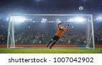 soccer goalkeeper in action on... | Shutterstock . vector #1007042902