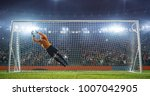 soccer goalkeeper in action on... | Shutterstock . vector #1007042905