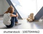 little girl with teddy bear... | Shutterstock . vector #1007044462