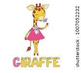 a cute giraffe dressed in pink. ... | Shutterstock .eps vector #1007052232