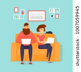 couple working at home ... | Shutterstock .eps vector #1007059945