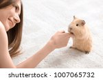 Stock photo beautiful young woman with pet guinea pig at home 1007065732