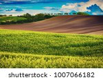 rural landscape with fields ... | Shutterstock . vector #1007066182