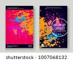 neon explosion paint splatter... | Shutterstock .eps vector #1007068132