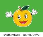 vector orange fruit character... | Shutterstock .eps vector #1007072992