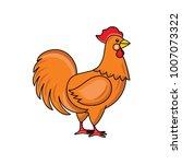 vector flat hand drawn chicken  ...   Shutterstock .eps vector #1007073322