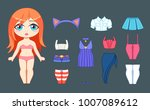 little cute chibi girl and set... | Shutterstock .eps vector #1007089612