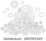 small lodge with a thatched...   Shutterstock .eps vector #1007091325