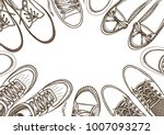 background of many sports shoes ... | Shutterstock .eps vector #1007093272
