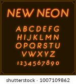 neon italic font type alphabet. ... | Shutterstock . vector #1007109862