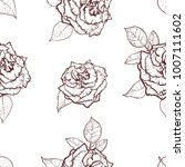 vintage rose. hand drawn vector ... | Shutterstock .eps vector #1007111602
