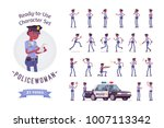 young black policewoman  female ... | Shutterstock .eps vector #1007113342