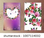 valentines day heart with rose... | Shutterstock .eps vector #1007114032
