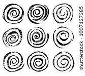 black spiral circles of ink.... | Shutterstock .eps vector #1007127385
