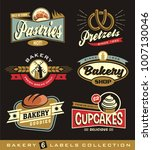 set of retro bakery shop design ... | Shutterstock .eps vector #1007130046