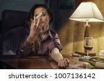 drug addict young woman with... | Shutterstock . vector #1007136142