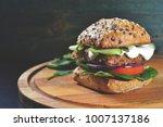 veggie  vegan burger with...   Shutterstock . vector #1007137186