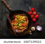 stir fry noodles in traditional ... | Shutterstock . vector #1007139022