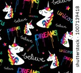 unicorns dreams magical... | Shutterstock .eps vector #1007139418