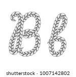 braids font. alphabet made from ... | Shutterstock .eps vector #1007142802