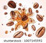 coffee bean with splash of... | Shutterstock . vector #1007145592