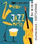 vector jazz party poster. with... | Shutterstock .eps vector #1007145646