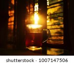 a cup of strong black coffee on ...   Shutterstock . vector #1007147506
